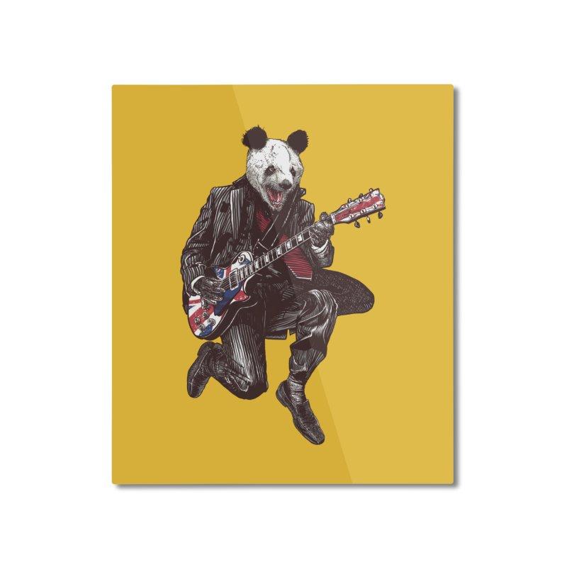panda guitarist Home Mounted Aluminum Print by gupikus's Artist Shop