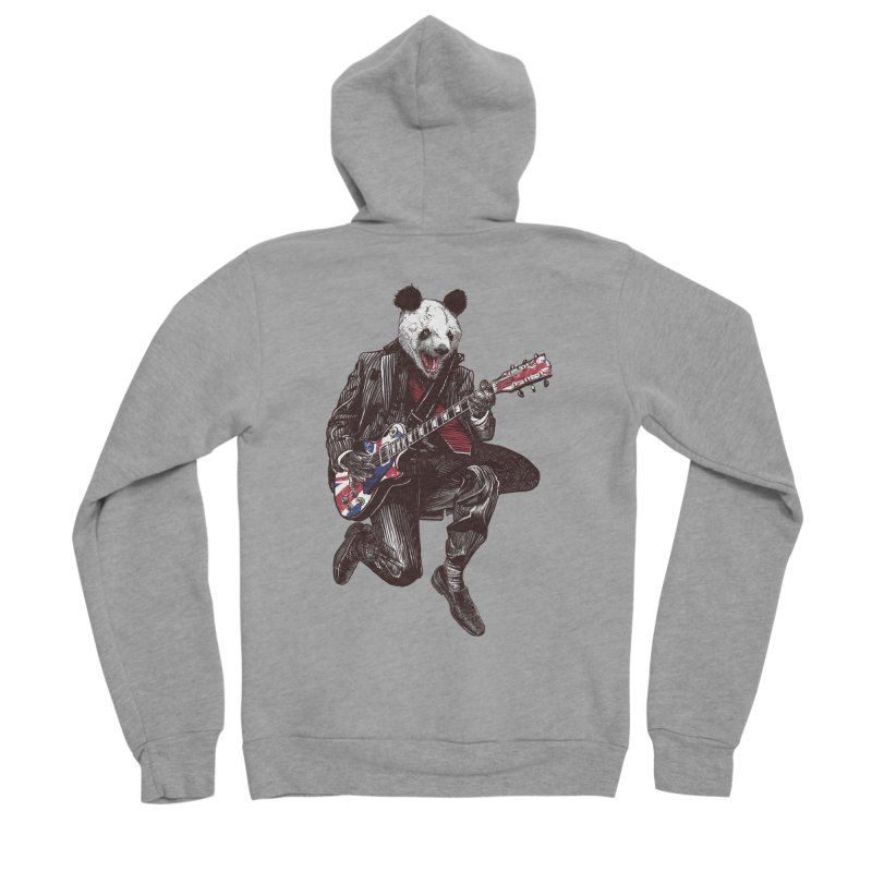 panda guitarist Men's Sponge Fleece Zip-Up Hoody by gupikus's Artist Shop