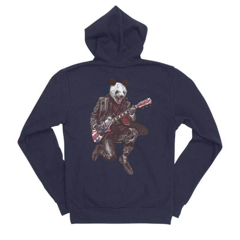 panda guitarist Men's Sponge Fleece Zip-Up Hoody by gupikus's Artist Shop