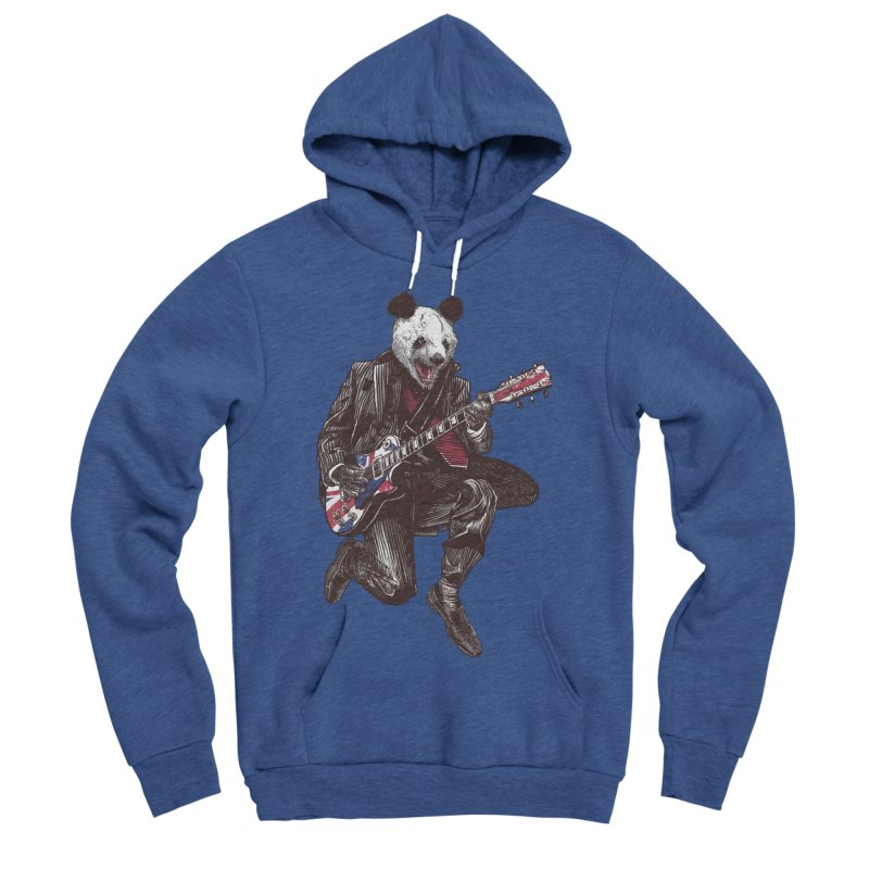 panda guitarist Men's Sponge Fleece Pullover Hoody by gupikus's Artist Shop