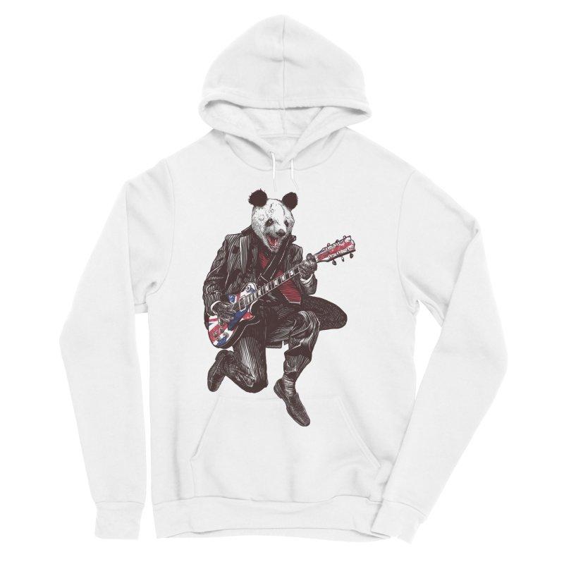 panda guitarist Men's Sponge Fleece Pullover Hoody by gupikus's Artist Shop