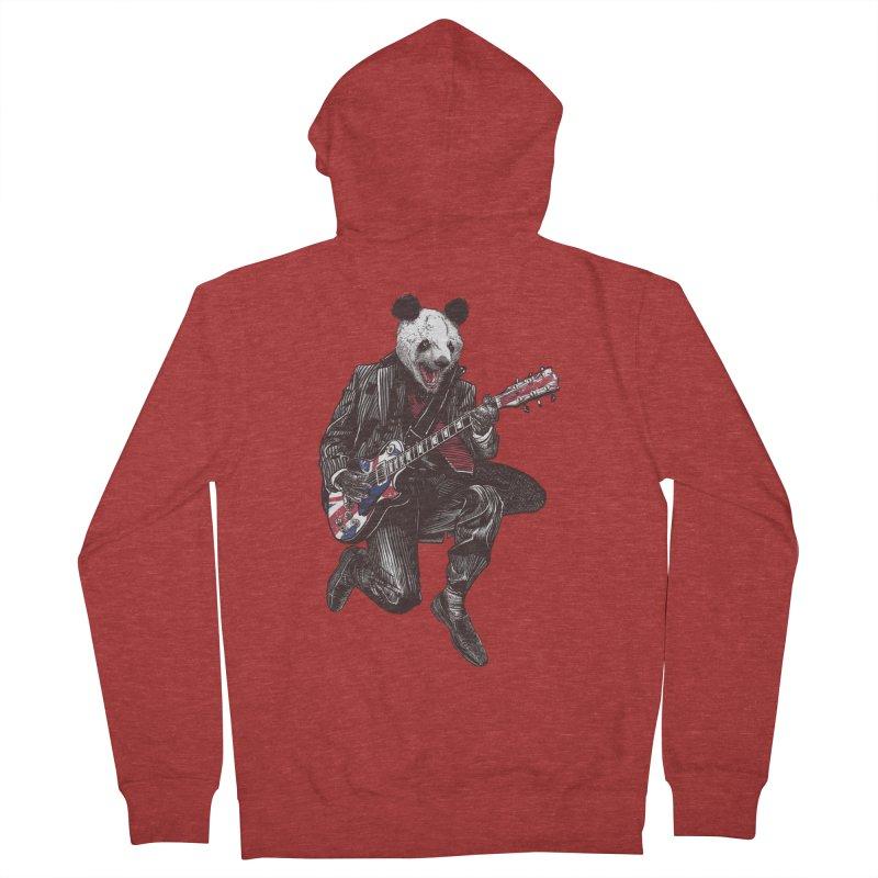 panda guitarist Women's French Terry Zip-Up Hoody by gupikus's Artist Shop