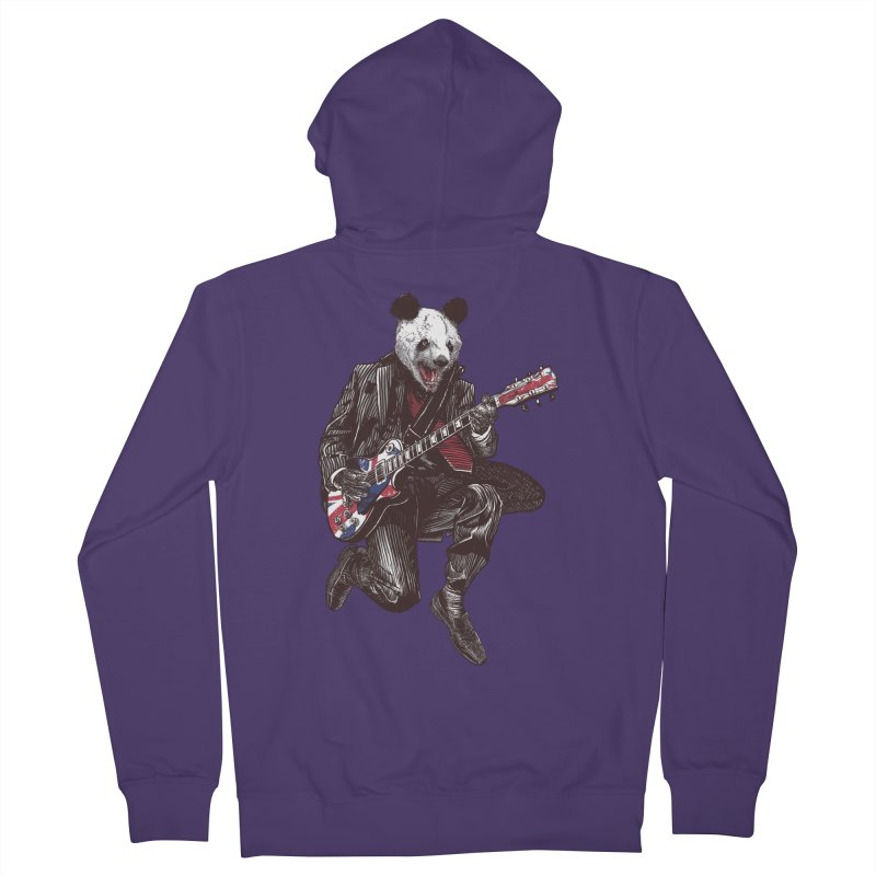 panda guitarist Women's French Terry Zip-Up Hoody by gupikus's Artist Shop