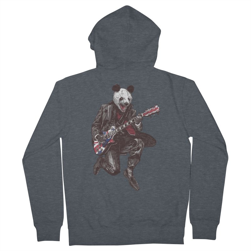 panda guitarist Men's French Terry Zip-Up Hoody by gupikus's Artist Shop