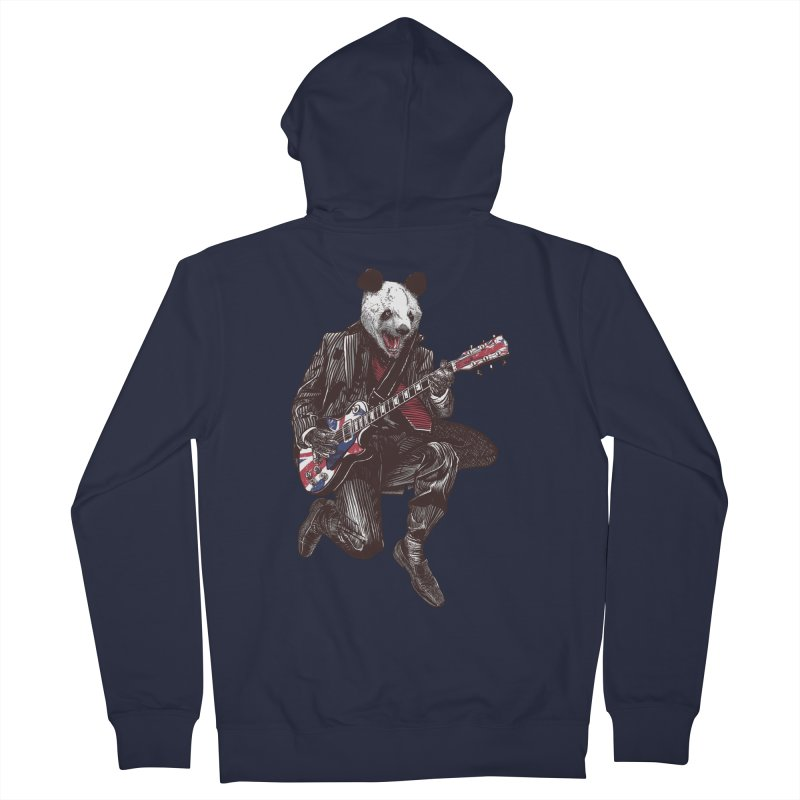 panda guitarist Men's French Terry Zip-Up Hoody by gupikus's Artist Shop