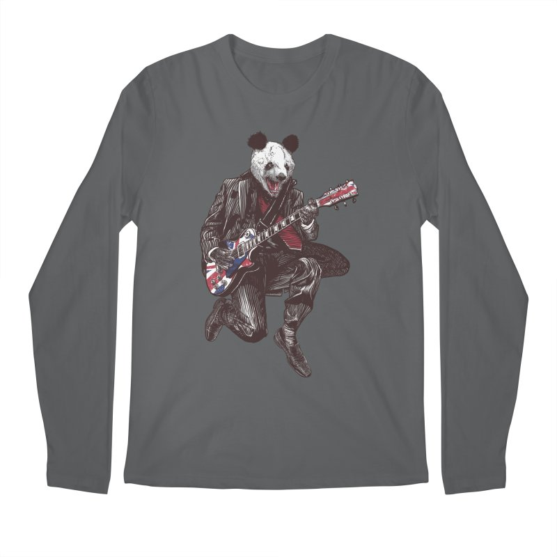panda guitarist Men's Regular Longsleeve T-Shirt by gupikus's Artist Shop