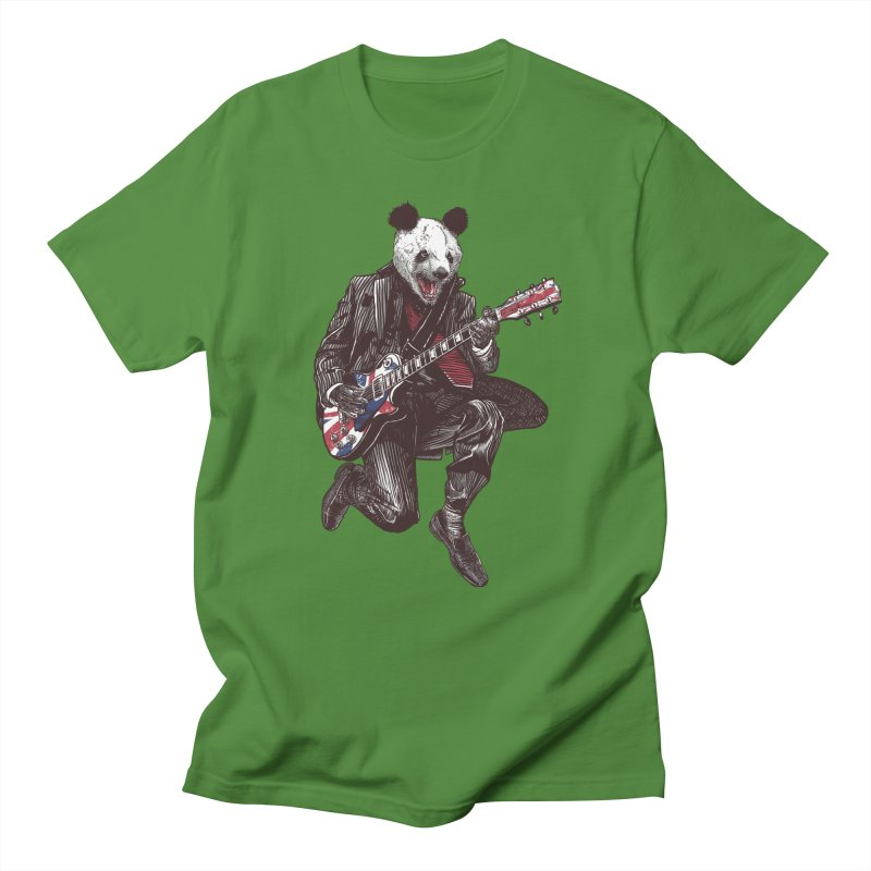 panda guitarist Men's Regular T-Shirt by gupikus's Artist Shop