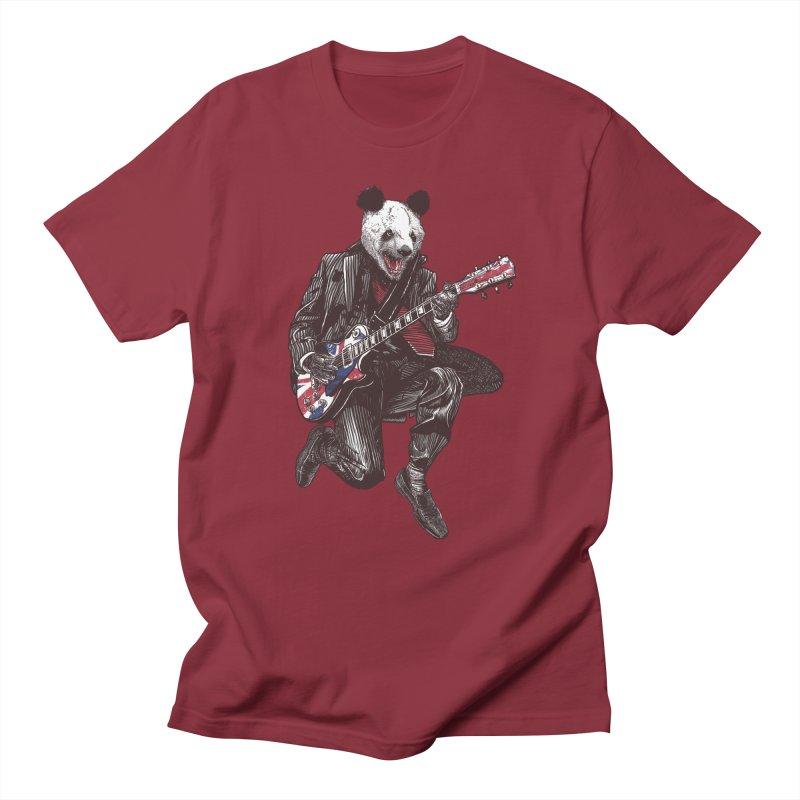 panda guitarist Men's Regular T-Shirt by gupikus's Artist Shop