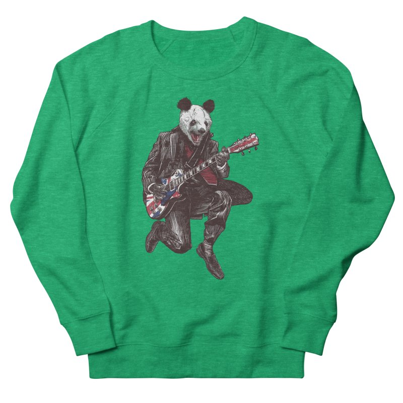 panda guitarist Women's French Terry Sweatshirt by gupikus's Artist Shop