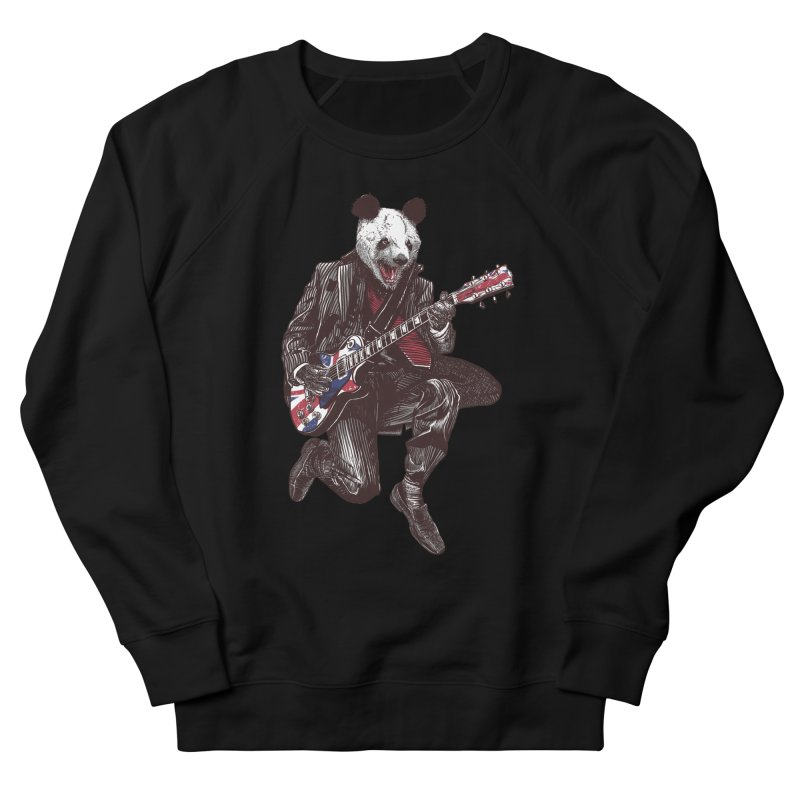 panda guitarist Men's French Terry Sweatshirt by gupikus's Artist Shop