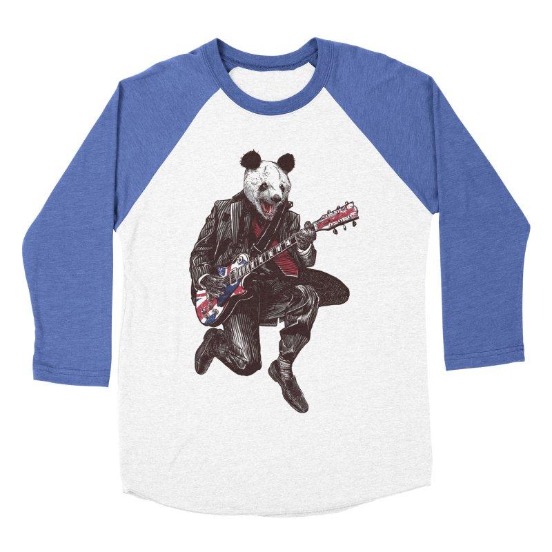 panda guitarist Men's Baseball Triblend Longsleeve T-Shirt by gupikus's Artist Shop