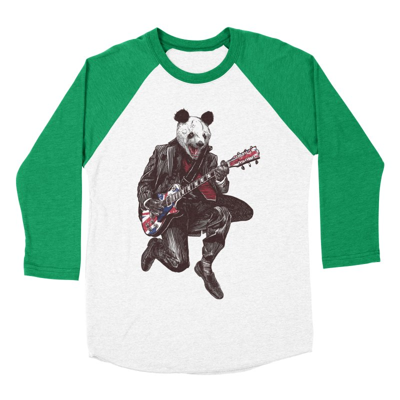 panda guitarist Men's Baseball Triblend Longsleeve T-Shirt by gupikus's Artist Shop