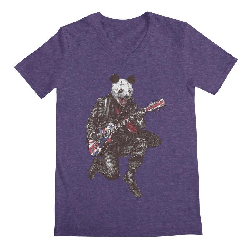 panda guitarist Men's Regular V-Neck by gupikus's Artist Shop