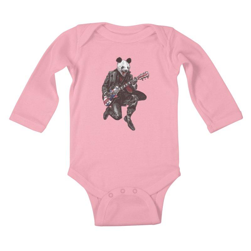 panda guitarist Kids Baby Longsleeve Bodysuit by gupikus's Artist Shop