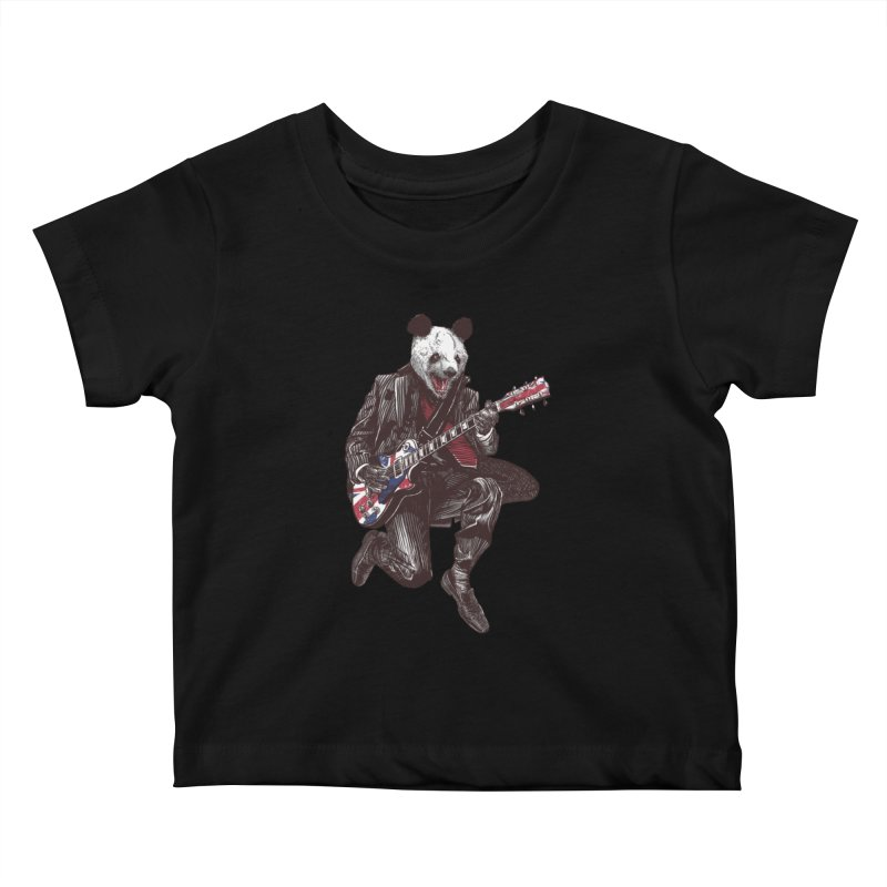 panda guitarist Kids Baby T-Shirt by gupikus's Artist Shop