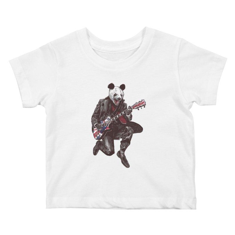 panda guitarist Kids Baby T-Shirt by gupikus's Artist Shop