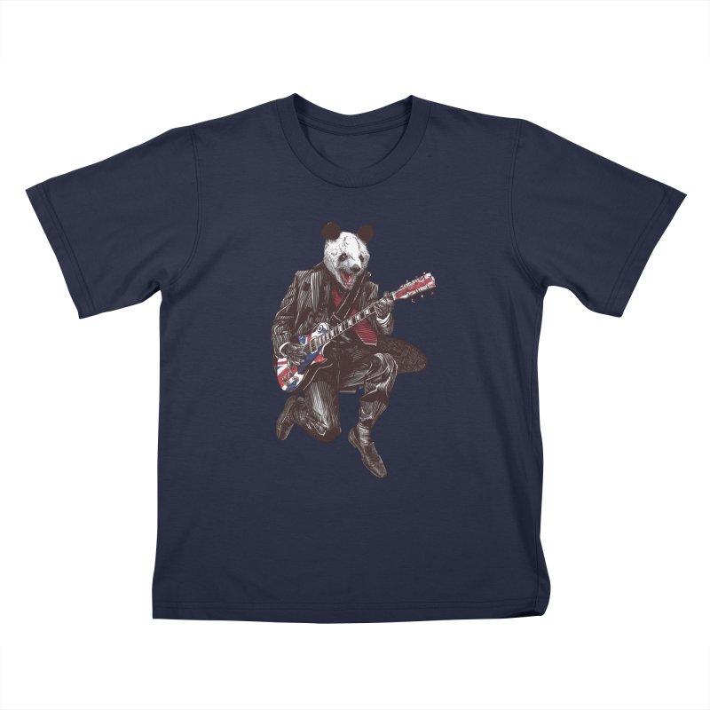 panda guitarist Kids T-Shirt by gupikus's Artist Shop