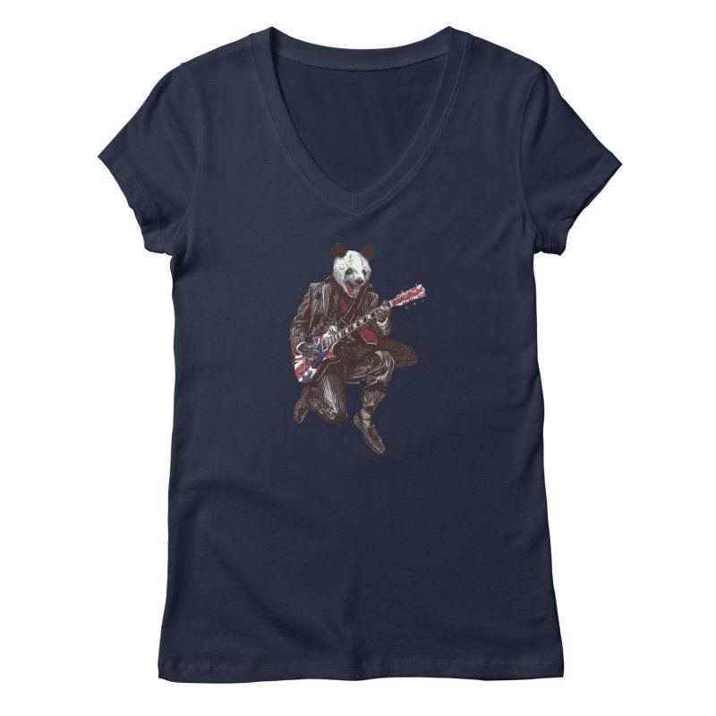 panda guitarist Women's Regular V-Neck by gupikus's Artist Shop