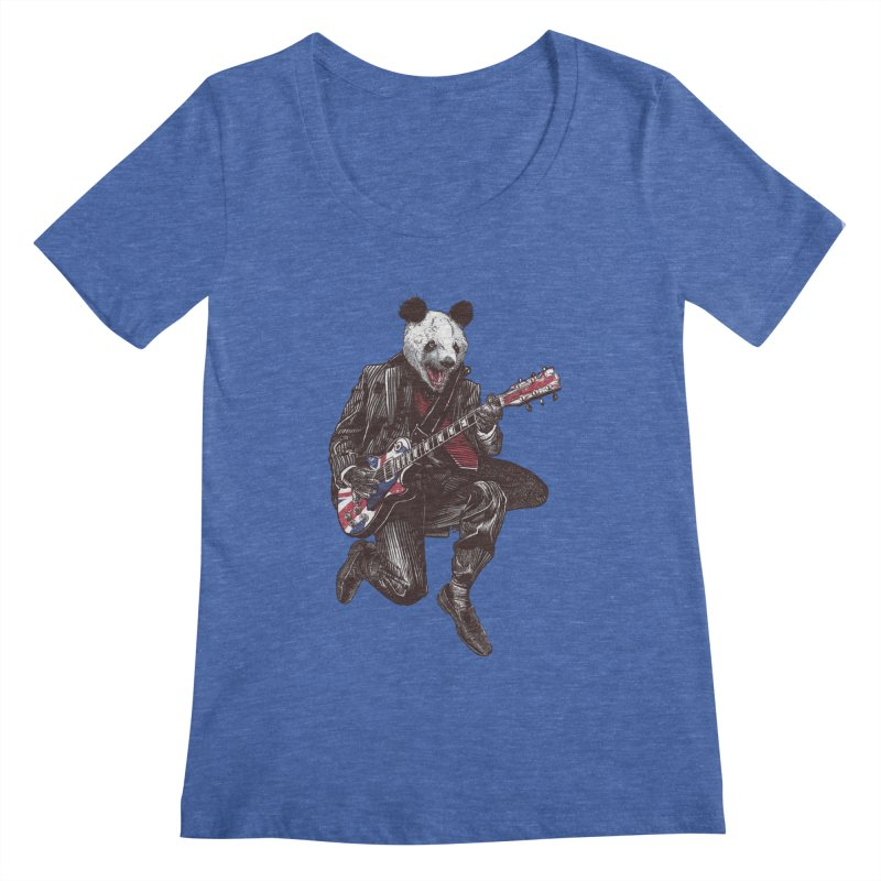 panda guitarist Women's Regular Scoop Neck by gupikus's Artist Shop