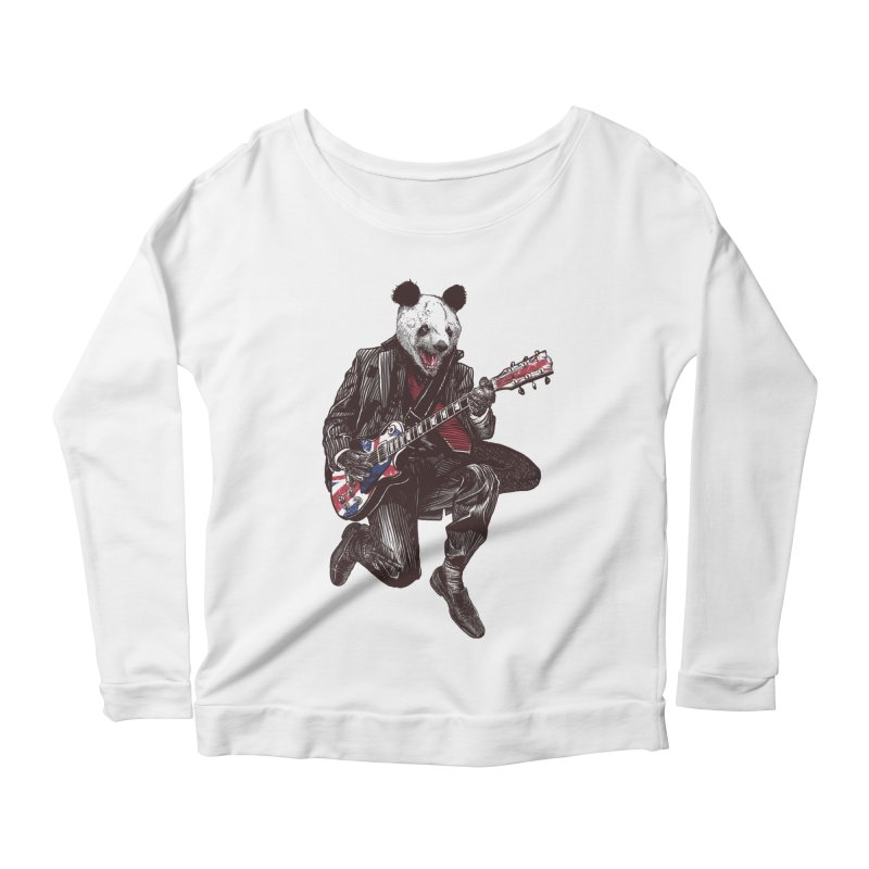 panda guitarist Women's Scoop Neck Longsleeve T-Shirt by gupikus's Artist Shop