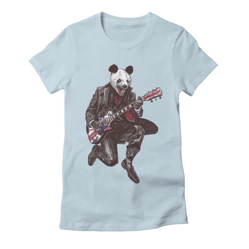 panda guitarist Women's Fitted T-Shirt by gupikus's Artist Shop