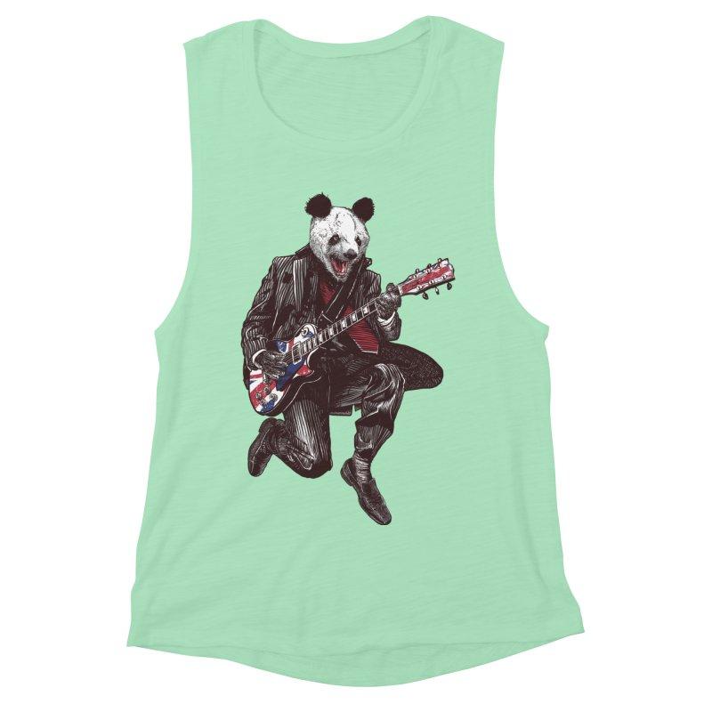 panda guitarist Women's Muscle Tank by gupikus's Artist Shop