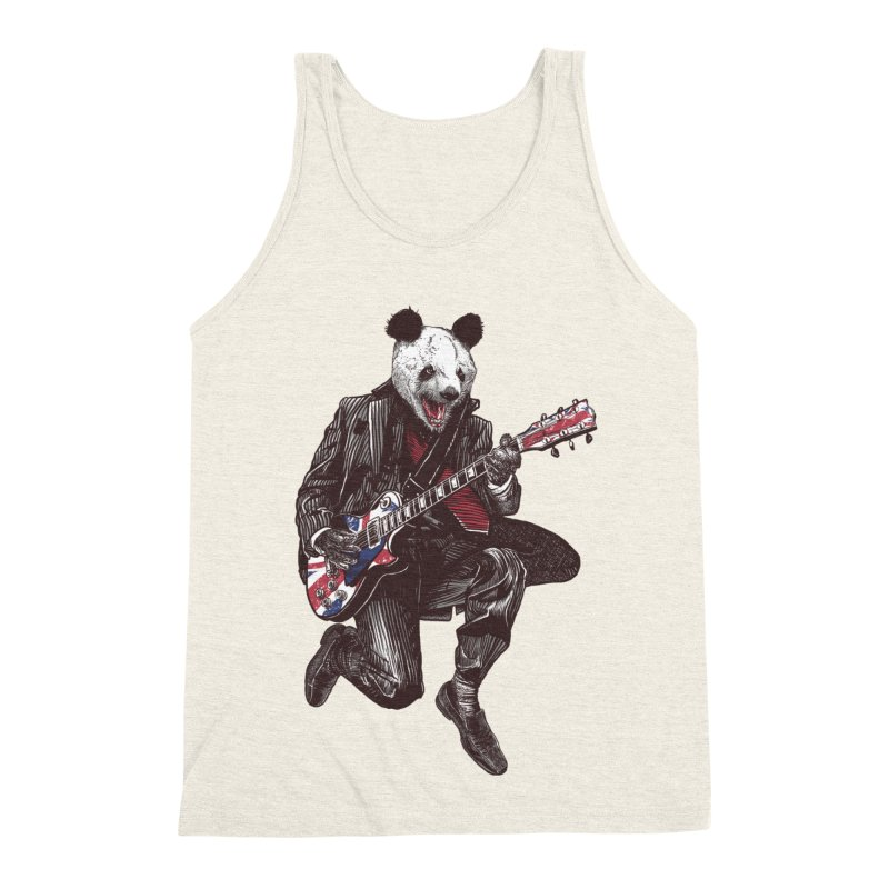 panda guitarist Men's Triblend Tank by gupikus's Artist Shop