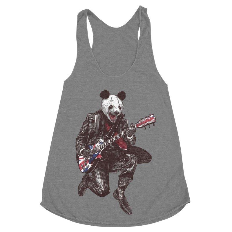 panda guitarist Women's Racerback Triblend Tank by gupikus's Artist Shop