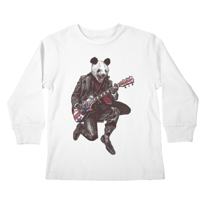 panda guitarist Kids Longsleeve T-Shirt by gupikus's Artist Shop