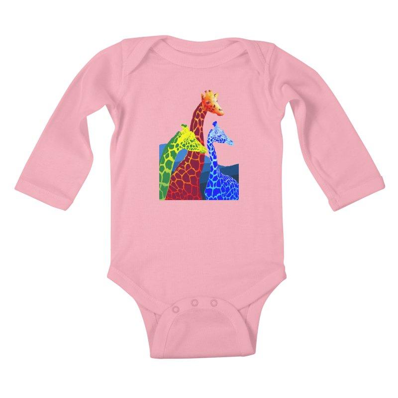 giraffe fams Kids Baby Longsleeve Bodysuit by gupikus's Artist Shop
