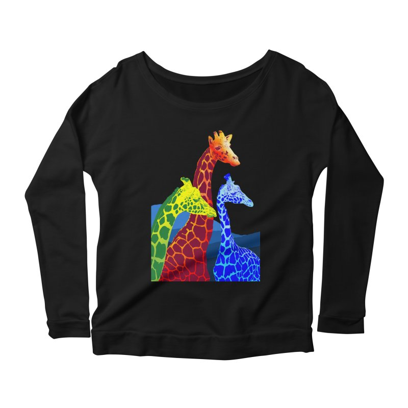 giraffe fams Women's Scoop Neck Longsleeve T-Shirt by gupikus's Artist Shop