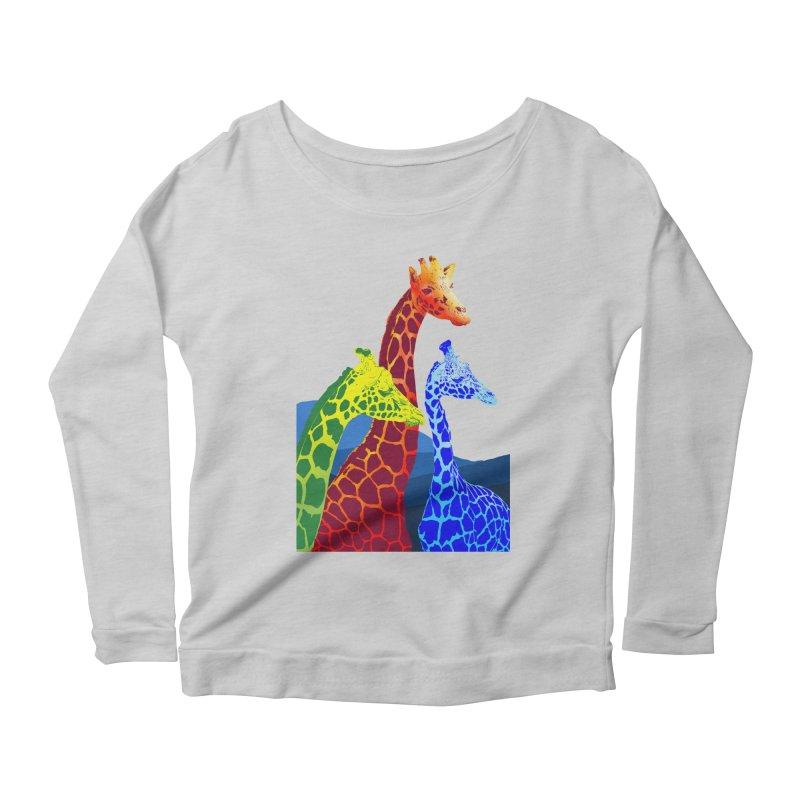 giraffe fams Women's Scoop Neck Longsleeve T-Shirt by gupikus's Artist Shop