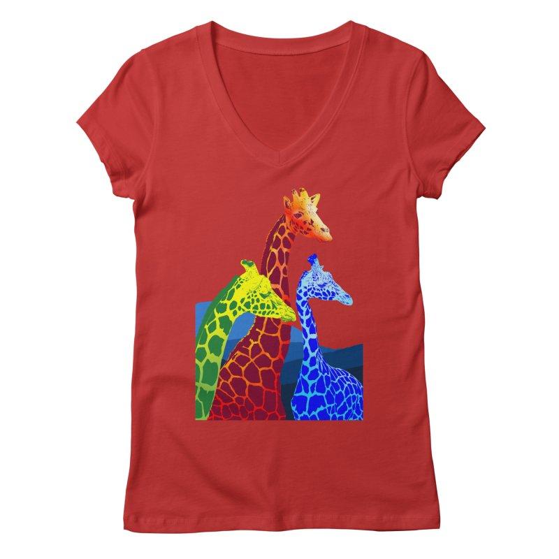 giraffe fams Women's Regular V-Neck by gupikus's Artist Shop