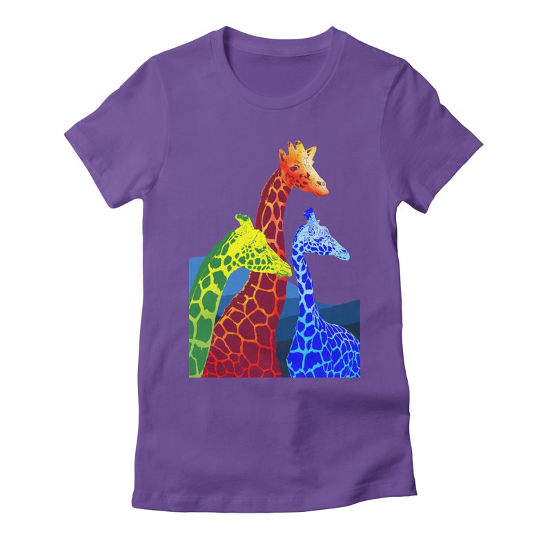 giraffe fams Women's Fitted T-Shirt by gupikus's Artist Shop