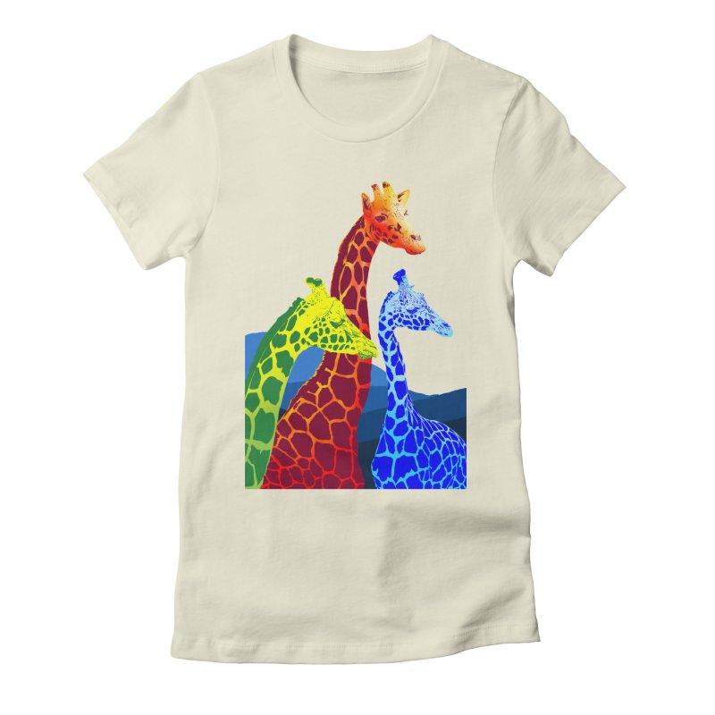 giraffe fams Women's Fitted T-Shirt by gupikus's Artist Shop