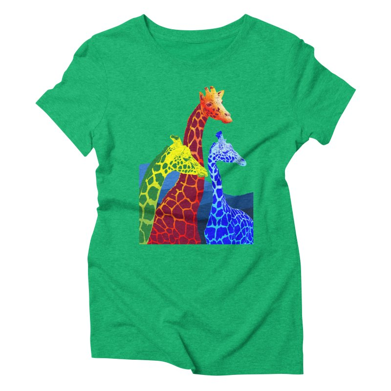 giraffe fams Women's Triblend T-Shirt by gupikus's Artist Shop