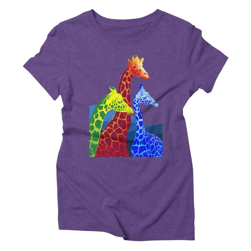 giraffe fams Women's Triblend T-Shirt by gupikus's Artist Shop