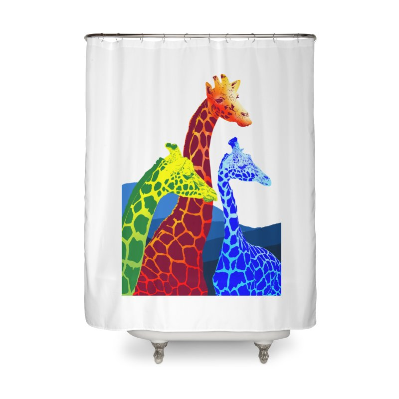 giraffe fams Home Shower Curtain by gupikus's Artist Shop
