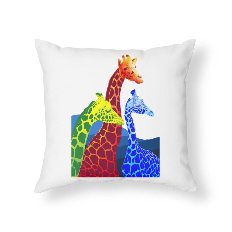 giraffe fams Home Throw Pillow by gupikus's Artist Shop
