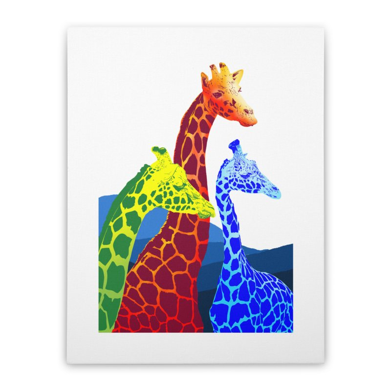 giraffe fams Home Stretched Canvas by gupikus's Artist Shop