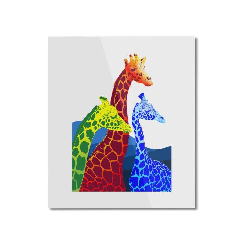 giraffe fams Home Mounted Aluminum Print by gupikus's Artist Shop