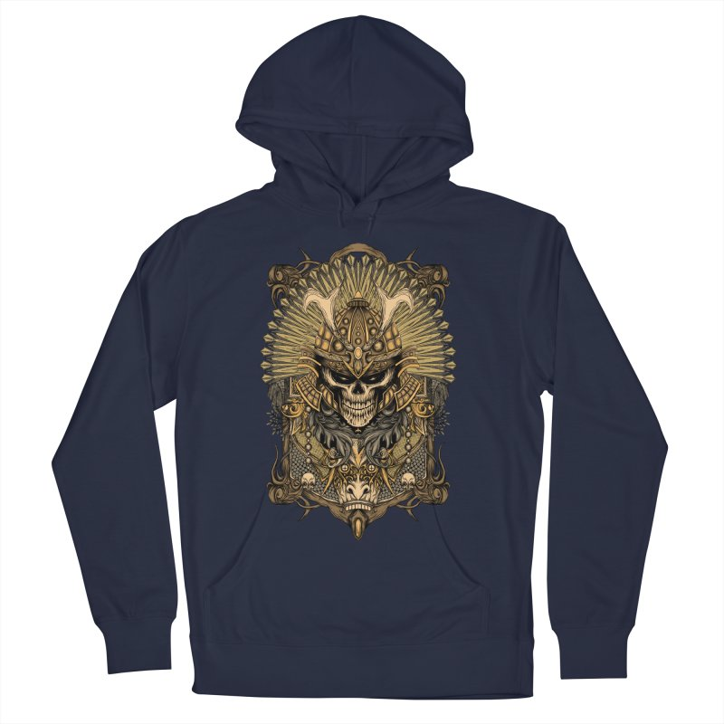 ornamental samurai skull Women's French Terry Pullover Hoody by gupikus's Artist Shop