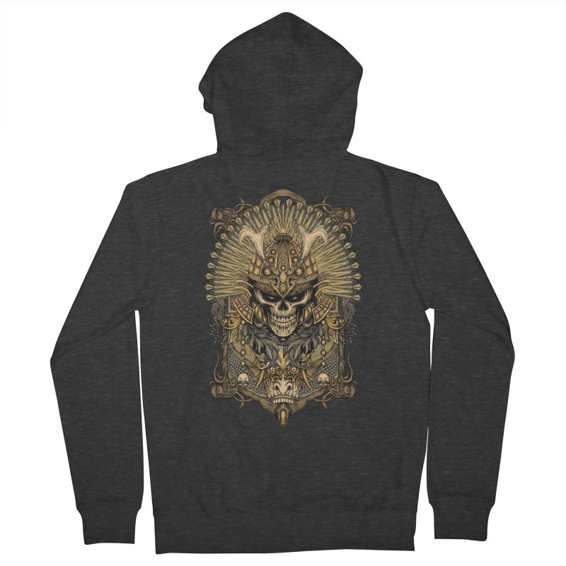 ornamental samurai skull Women's French Terry Zip-Up Hoody by gupikus's Artist Shop