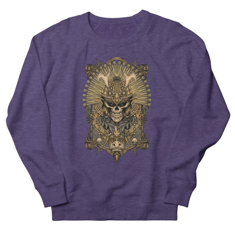 ornamental samurai skull Women's French Terry Sweatshirt by gupikus's Artist Shop