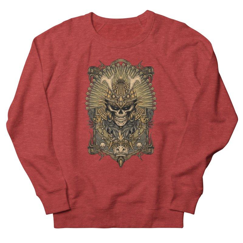 ornamental samurai skull Women's French Terry Sweatshirt by gupikus's Artist Shop
