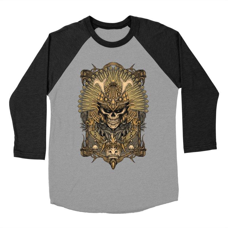 ornamental samurai skull Women's Baseball Triblend Longsleeve T-Shirt by gupikus's Artist Shop