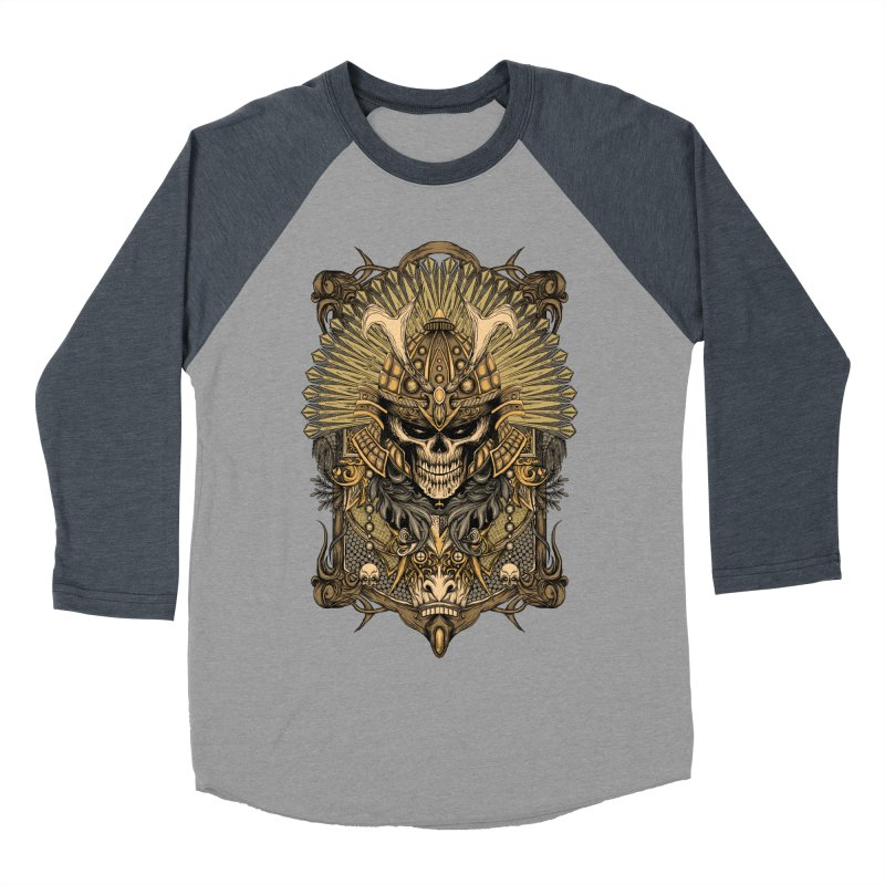 ornamental samurai skull Women's Baseball Triblend Longsleeve T-Shirt by gupikus's Artist Shop