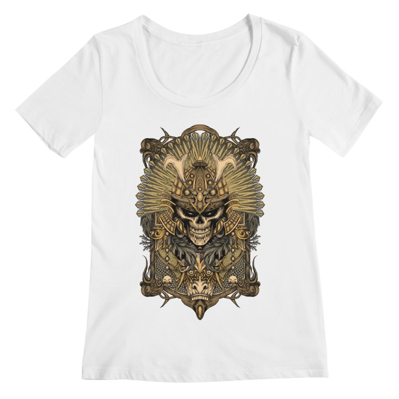 ornamental samurai skull Women's Regular Scoop Neck by gupikus's Artist Shop