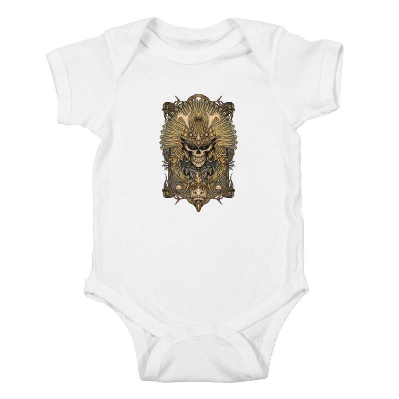 ornamental samurai skull Kids Baby Bodysuit by gupikus's Artist Shop