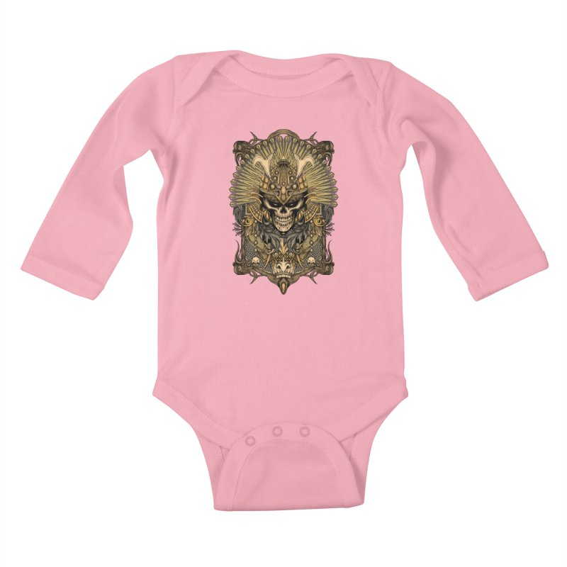 ornamental samurai skull Kids Baby Longsleeve Bodysuit by gupikus's Artist Shop